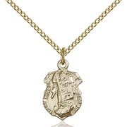 Gold Filled St. Michael the Archangel Pendant 5/8 x 3/8 inches with Gold Filled Lite Curb Chain