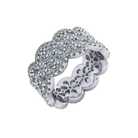 4.25Ct Round Cut Natural Diamond Cluster Ladies Anniversary Wedding Eternity Band Ring 14k Gold FG VS1