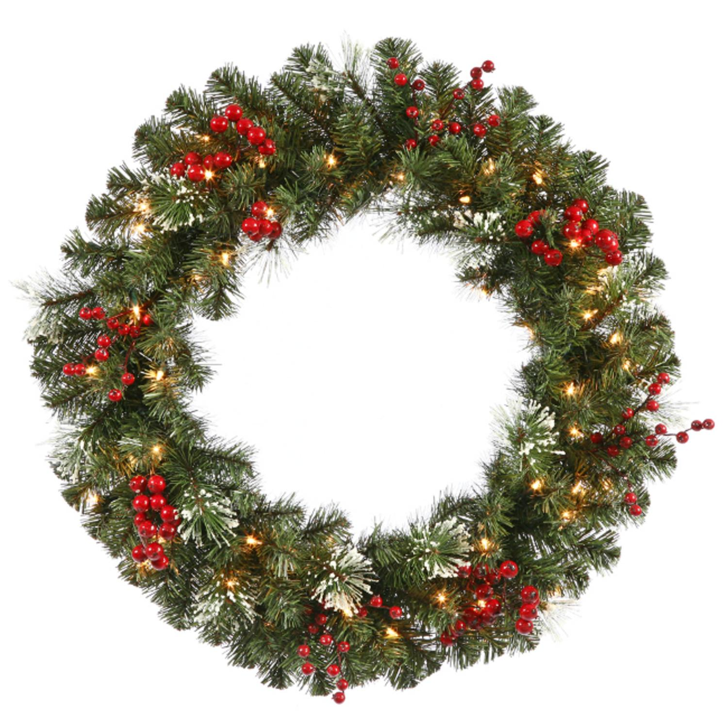 "24"" Pre-Lit Siegal Berry Pine w/ Holly Berries Christmas Wreath - Clear Lights"