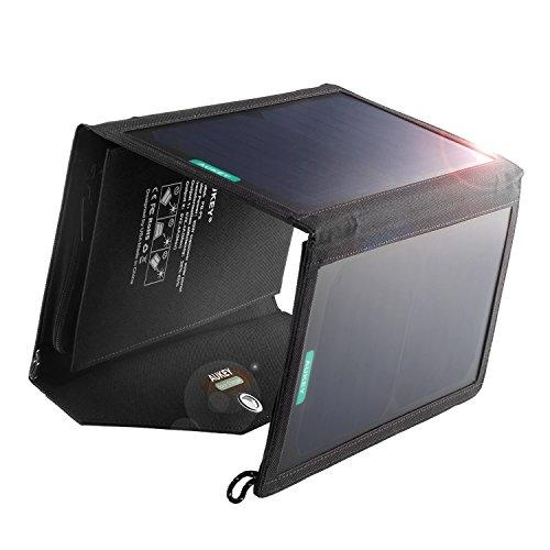 aukey 20w 2-port solar charger with sunpower high efficie...