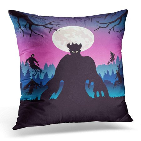 CMFUN Above Silhouette of Evil Spirit Flying on Forest at Full Moon Night About Halloween and Fantasy Antonyms Pillow Case Pillow Cover 18x18 inch](Full Moons On Halloween)
