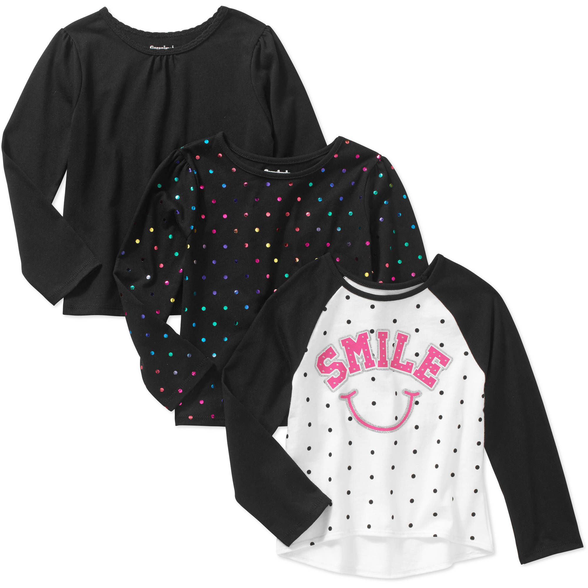 Garanimals Baby Toddler Girl 3-Piece Long Sleeve Solid Tee, Printed Tee & Raglan Tee Set