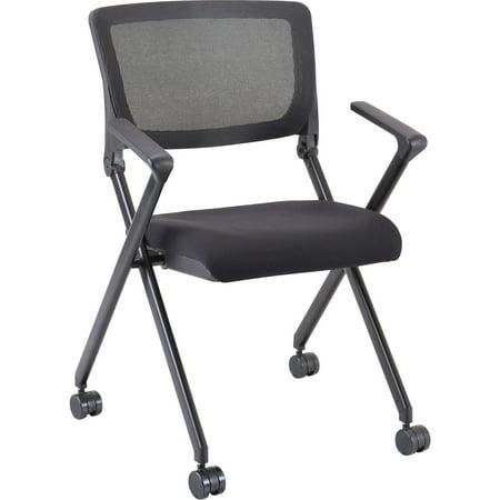 Lorell, LLR41845, Plastic Arms Mesh Back Nesting Chair, 2 / Carton
