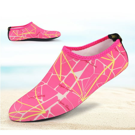 Barefoot Water Skin Shoes, Epicgadget(TM) Quick-Dry Flexible Water Skin Shoes Aqua Socks for Beach, Swim, Diving, Snorkeling, Running, Surfing and Yoga Exercise (Pink/Yellow, XL. US 9-10 EUR 40-41)