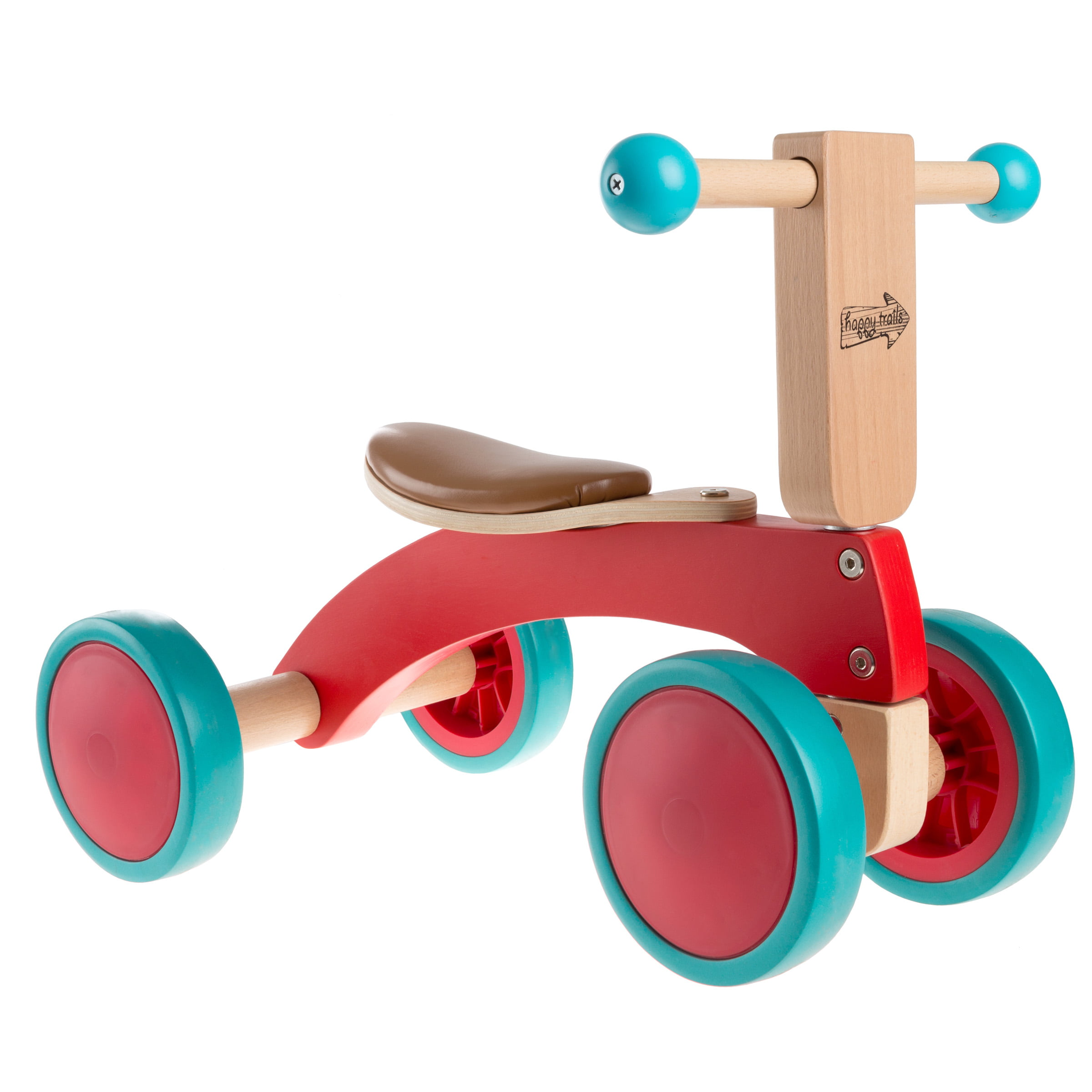 walk and ride wooden balance bike for toddlers 1-2 years old- ride, push,  or pull toy- perfect for boys and girlshappy trails