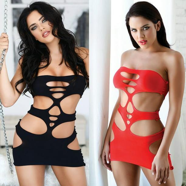 Details about  /Sexy Women Fishnet See Through Bodysuit Body Stocking Dress Suspenders Clubwear