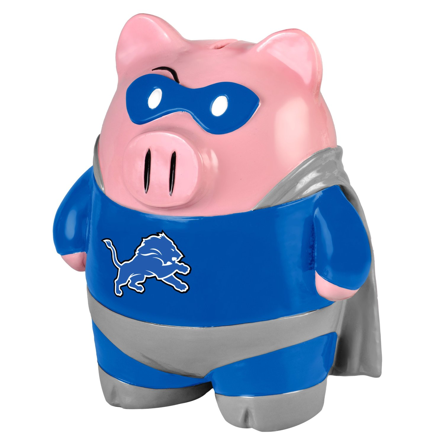 Detroit Lions Piggy Bank Large Stand Up Superhero by