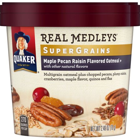 (6 Pack) Quaker Real Medleys Oatmeal + Maple Pecan Raisin, 2.46 (Jasmine Oatmeal)