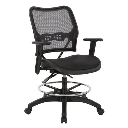 SPACE Seating Deluxe Ergonomic AirGrid® Seat and Back Drafting Chair with Arms