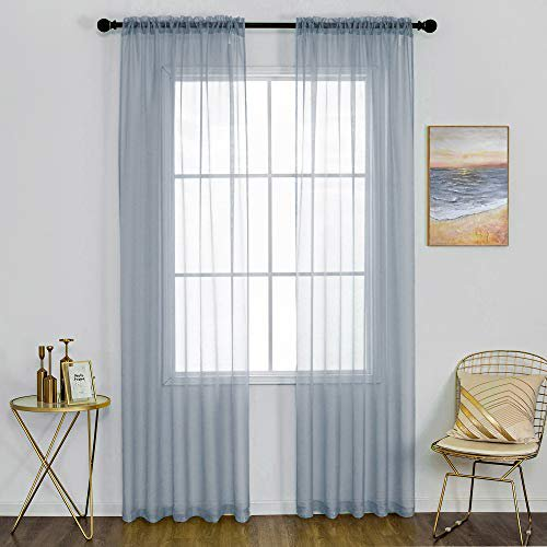 Dualife Dusty Blue Sheer Curtains 108, Curtains 108 Inch Length