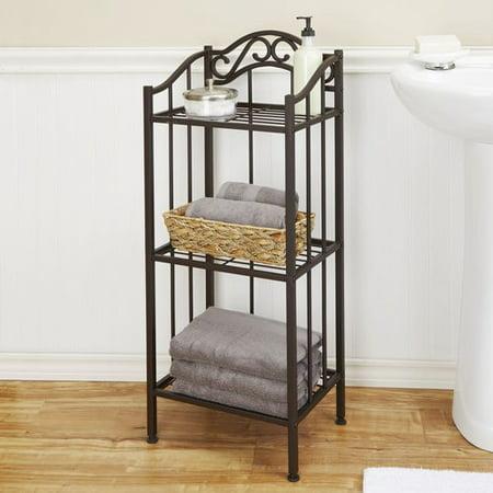 Chapter 3-Tier Decorative Metal Bathroom Floor Shelf, Bronze ...