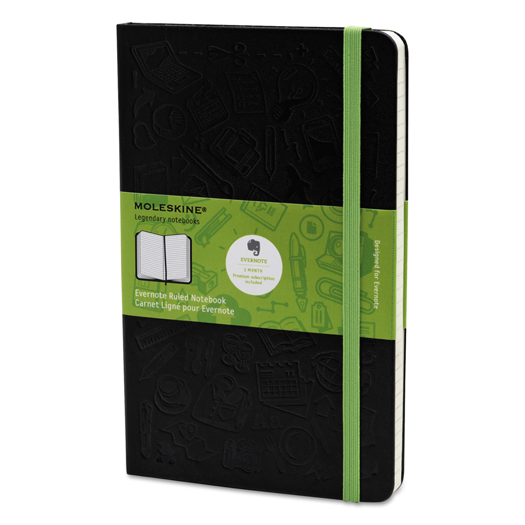 Moleskine Ruled Evernote Smart Notebook, 8 1/4 x 5, Black Cover, 240 Sheets