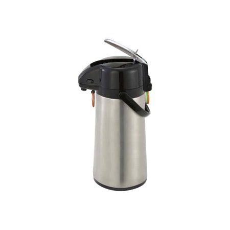 Stainless Steel Lever Airpot - Winco AP-819, 1.9L Glass Lined Airpot with Lever Top, Stainless Steel Body