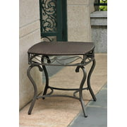 Wicker Resin/Steel Patio Side Table in Chocolate Finish