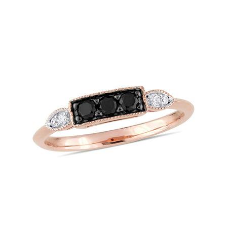 1/4 Carat T.W. Black and White Diamond 10k Rose Gold Stacking Ring