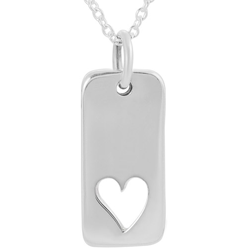 """Brinley Co. Sterling Silver Heart Tag Pendant, 18"""""""