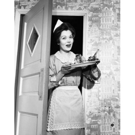 Portrait Of A Maid Standing In A Doorway And Holding A Plate Of Food Canvas Art     18 X 24