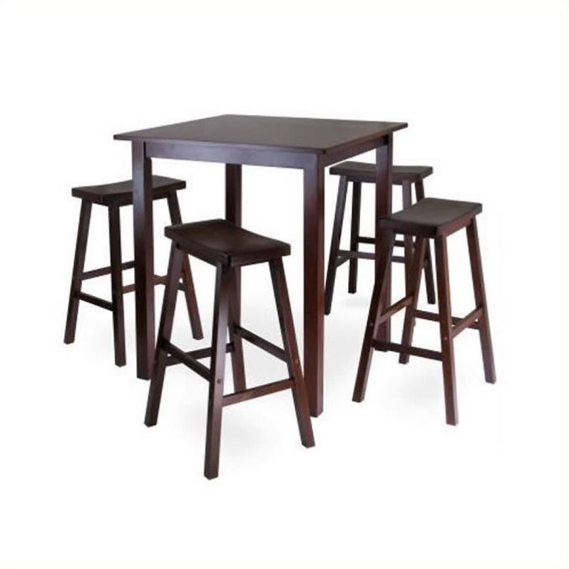 Pub Table Set With 4 Saddle Seat Stools