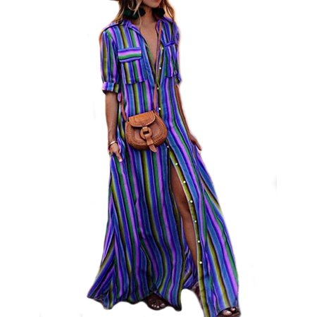 1d23707c556 UKAP - Summer Womens Rainbow Loose Button Down Collar Roll up Sleeve  Stripes Bohemia Beach Long Maxi Dresses With Pockets - Walmart.com