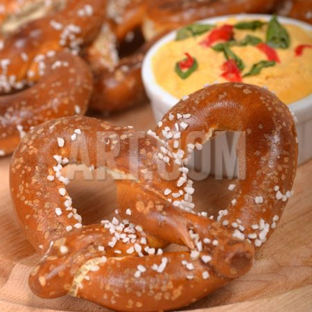 Cheddar Pretzel - Delicious and Rustic Fresh German Style Pretzel Served with a Cheddar Cheese Spread Print Wall Art By HHLtDave5