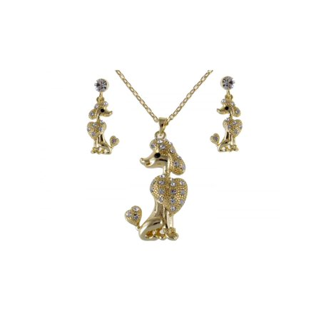 Golden Tone Poodle Show Dog Swarovski Clr Crystal Rhinestone Earring Necklace Set
