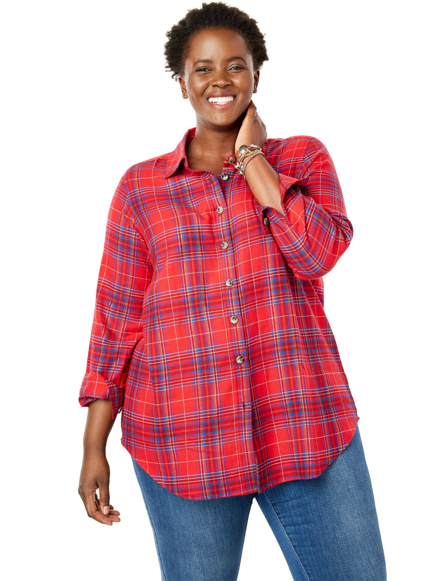 Woman Within Plus Size Classic Flannel Shirt