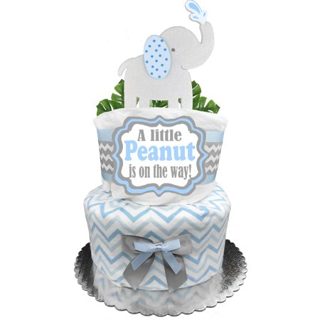Elephant 2-Tier Diaper Cake for a Boy - Baby Shower Gift - Centerpiece - Blue and Gray