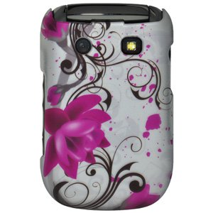 Rubberized Protector Back Case Slim Designed Snap On Cover for BlackBerry Style 9670 - Pink Lotus