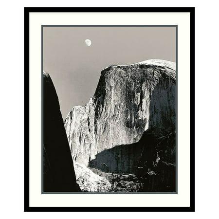 Moon Over Half Dome Framed Wall Art by Ansel Adams - 26.91W x 31.41H