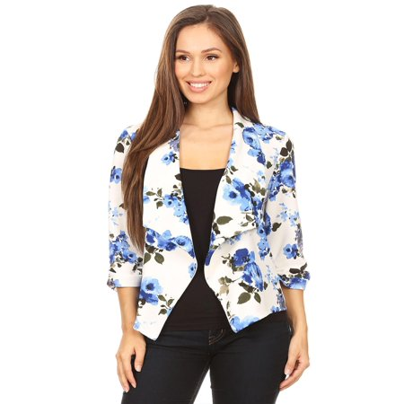 MOA COLLECTION Women's Print Floral Casual 3/4 Sleeve Loose Fit Open Front Blazer Jacket/Made in USA