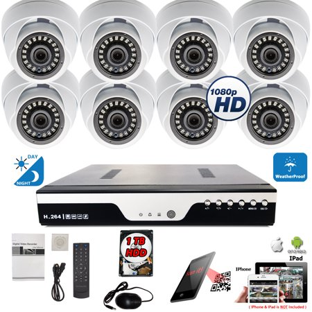 Evertech 8 Ch HD H.264 DVR and 8X HD Night Vision Outdoor Home CCTV Security Camera System 1TB