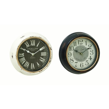 Decmode Traditional 10 X 10 Inch Iron Paris And Old Town Wall Clocks - Set of - Old Iron Wall