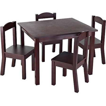 Tot Tutors Kids Wood Table And 4 Chairs Set  Multiple Colors