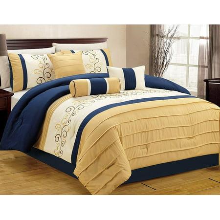 fbac7def9c33 7 Piece Luxury Embroidery Bed in Bag Microfiber Comforter Set, Queen,  Blue/Yellow - Walmart.com