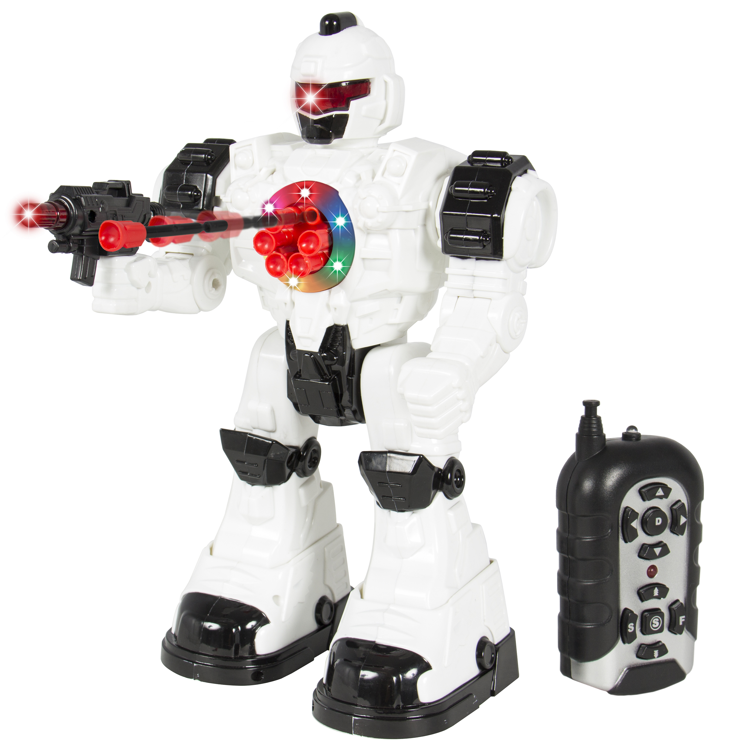 Walking Remote Control RC Shooting Robot Police Toy Lights and Sound Effects