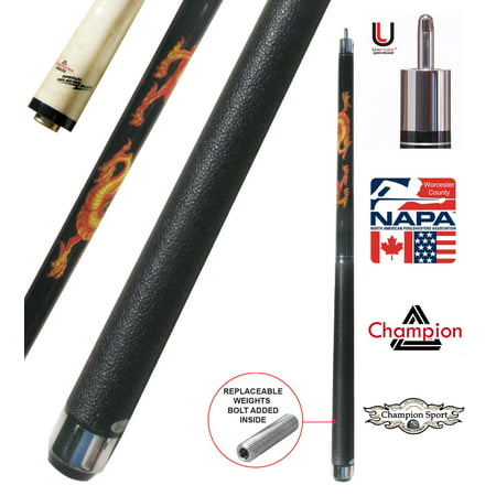 Champion Dragon Pool Cue Stick with Predator Uniloc Joint, Low Deflection Shaft (21 oz, 11.75 mm)