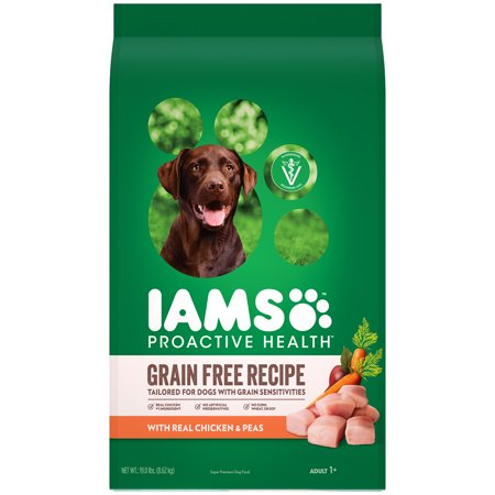 Iams Proactive Health Adult Dry Dog Food, Grain Free Recipe with Real Chicken and Peas, 19 lb. (Best Dog Food For Dogs With Allergies 2019)