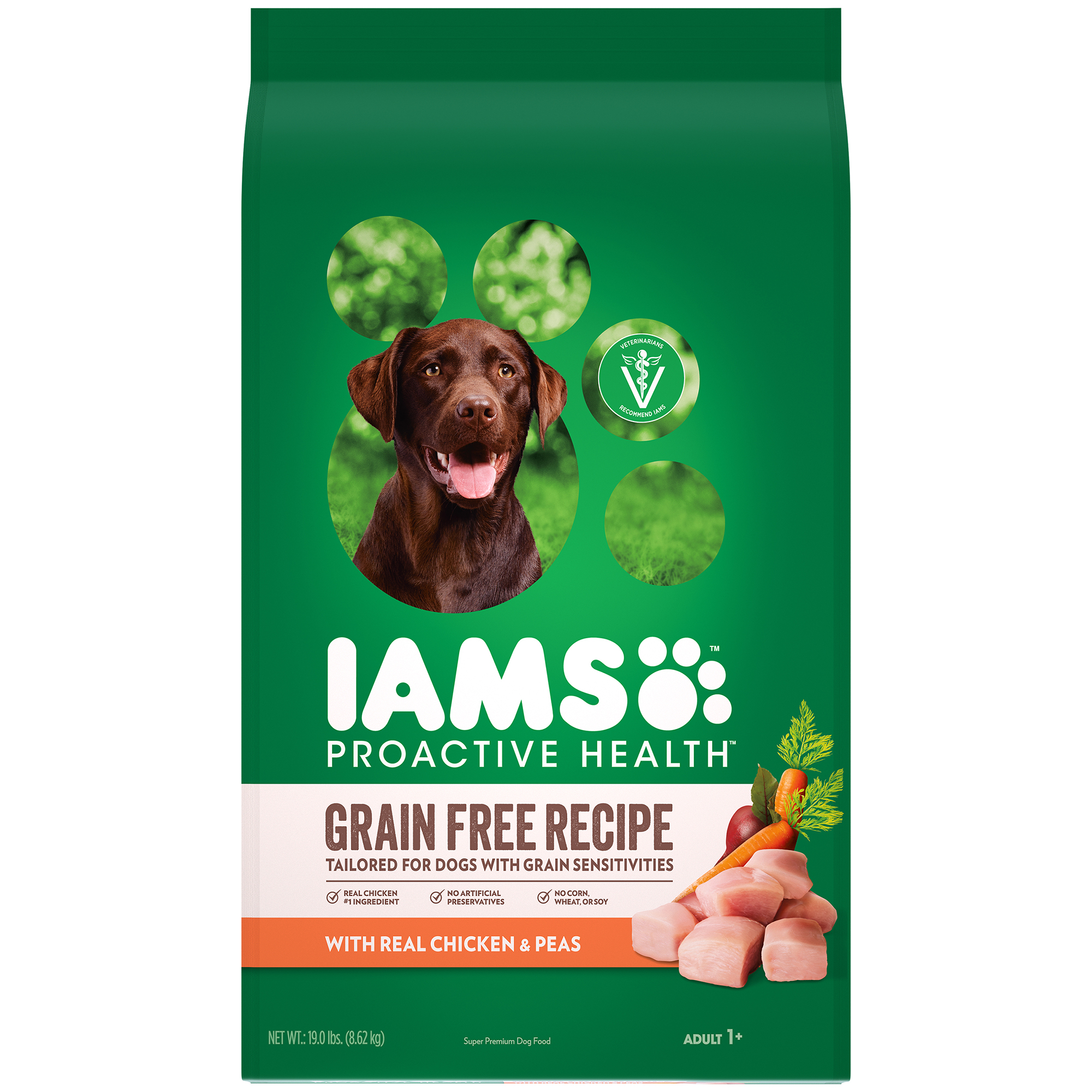 Iams Proactive Health Adult Dry Dog Food, Grain Free Recipe with Real Chicken and Peas, 19 lb. Bag