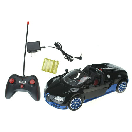 Super Car 1:16 Scale Remote Controlled Battery Operated Toy Bugatti Veyron Car w/ Glowing Taillights, and Opening Door Action