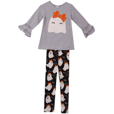 Toddler Girls 3 Pieces Set Halloween Ghost Outfit Long Sleeve Top Pants Clothing Gray 2T XS (P201646P) - Halloween Out Fits