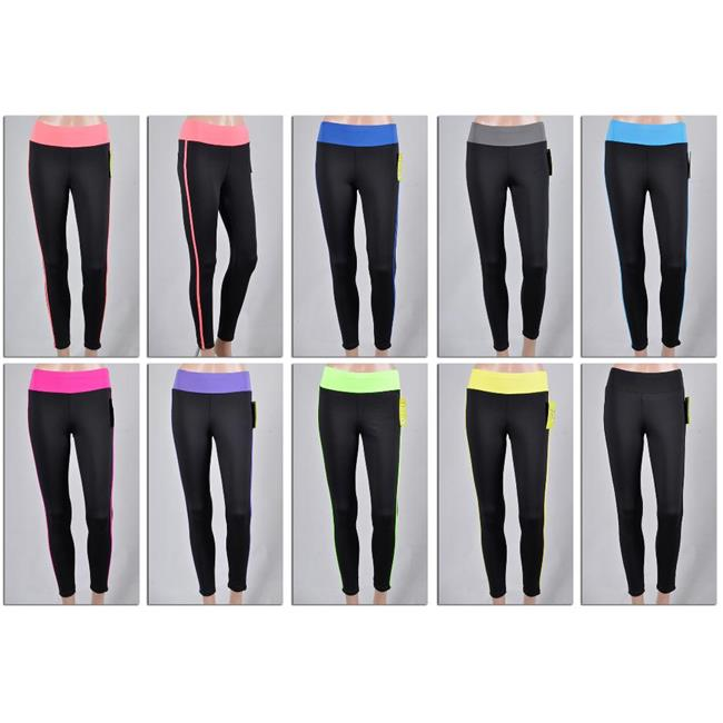 DDI 1893759 Womens Athletic Yoga Pants - Black With Color...