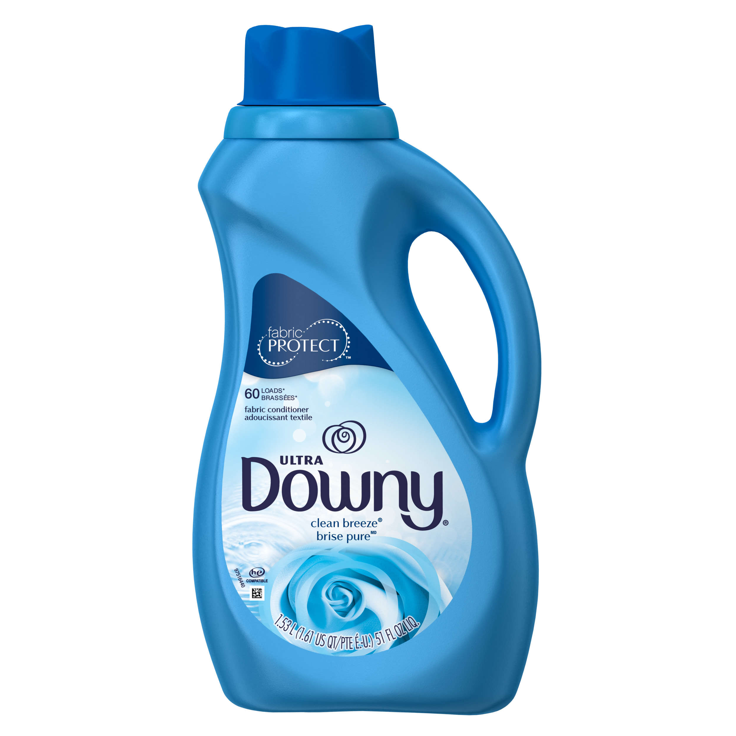Downy Ultra Liquid Fabric Conditioner, Clean Breeze, 60 Loads 51 fl oz