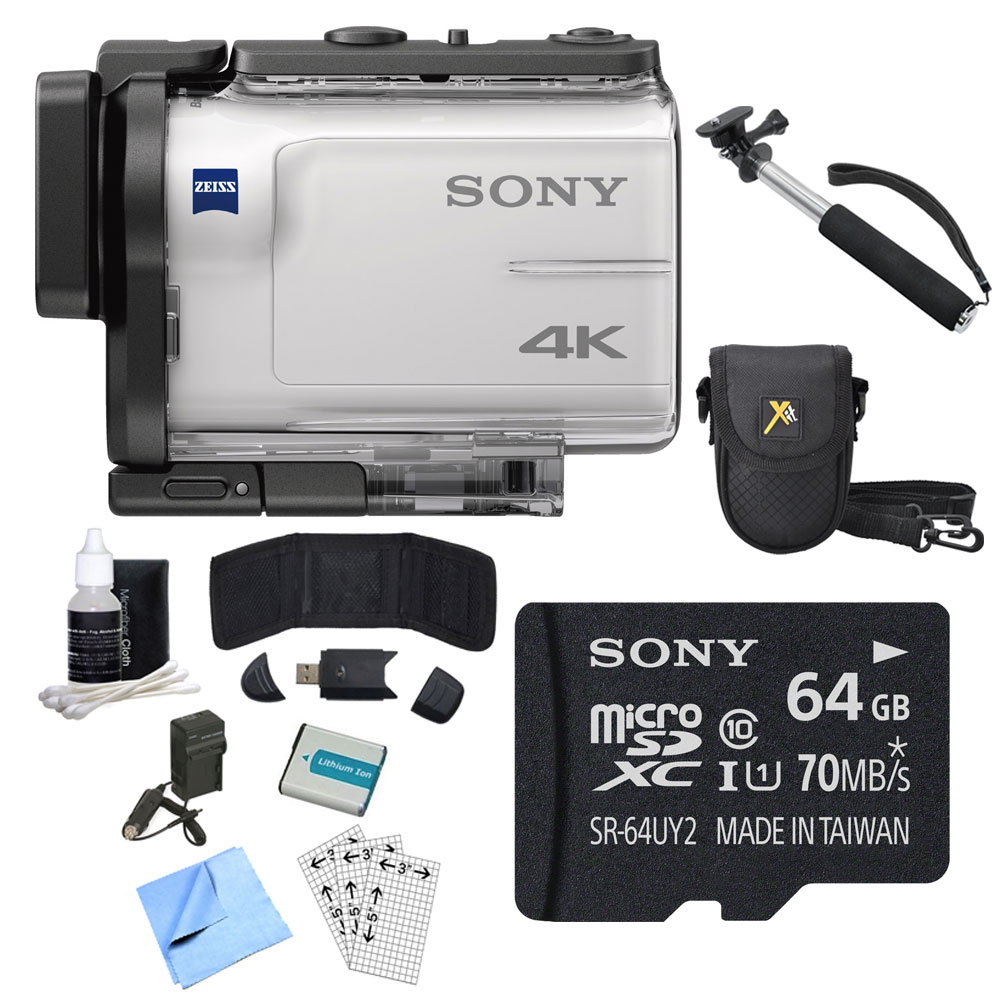 Sony FDR-X3000 4K GPS Action Camera, Selphie Stick, 64GB Card, and Accessory Bundle - Includes Camera, Selfie Stick, 64GB micro Memory Card, Carrying Case, Battery, Battery Charger, and More