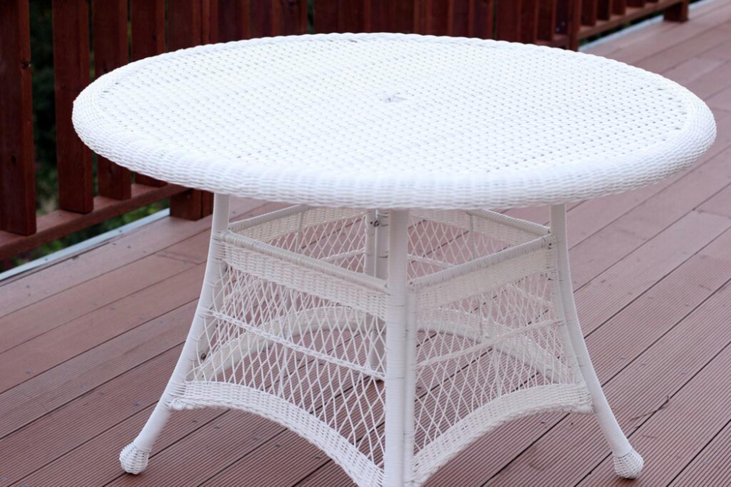 """44.5"""" White Resin Wicker Weather Resistant All-Season Outdoor Patio Dining Table by CC Outdoor Living"""