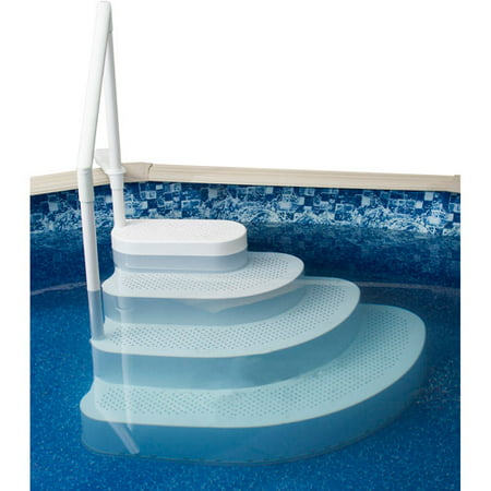 blue wave wedding cake above ground pool step