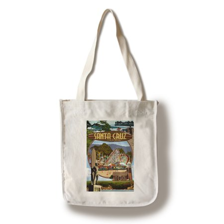 California Tote Bag (Santa Cruz, California - Scenes Montage- Lantern Press Artwork (100% Cotton Tote Bag -)