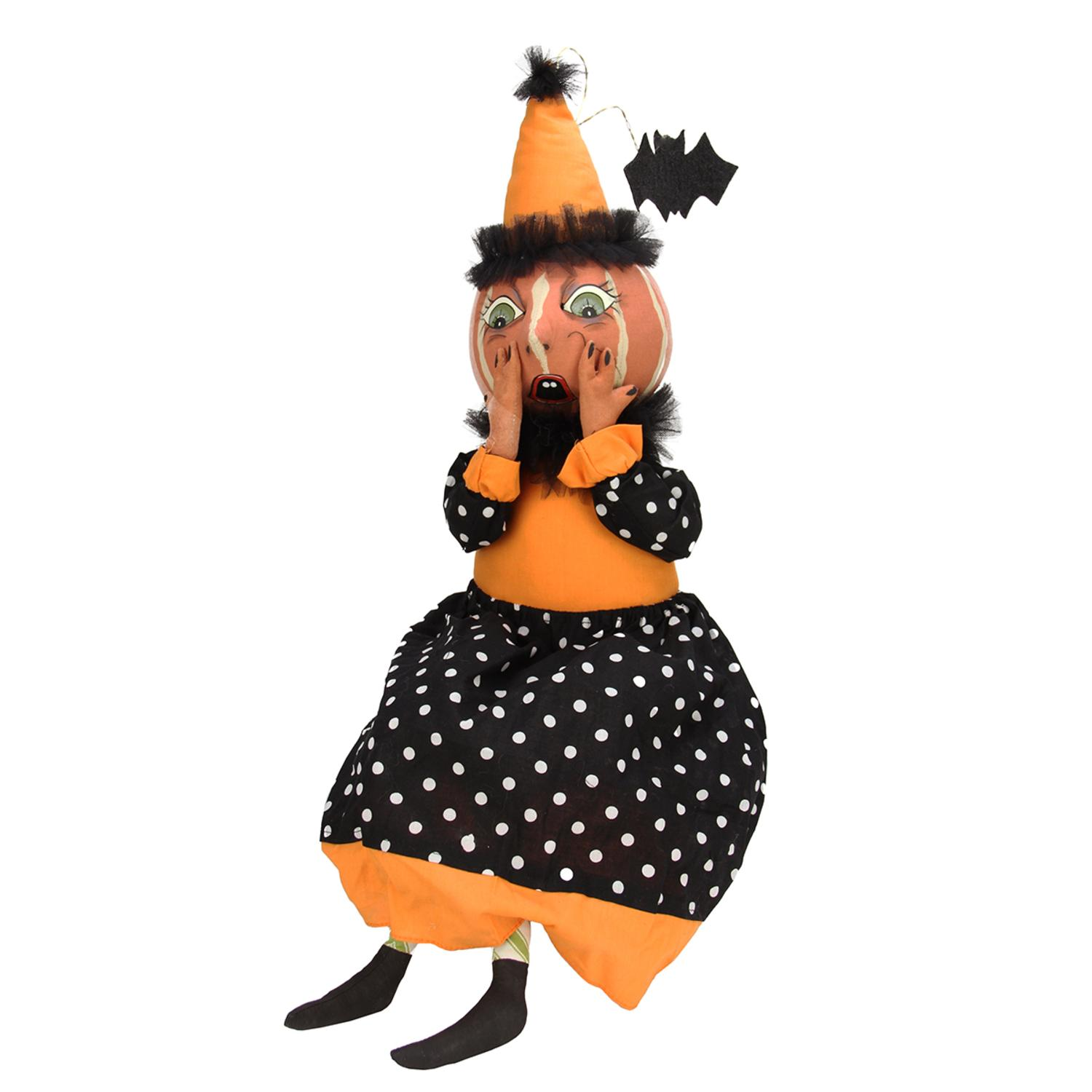 "28"" Gathered Traditions Frightened Eek the Pumpkin Girl Decorative Halloween Figure"