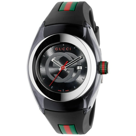 Gucci Unisex Black Swiss Sync Striped Rubber Strap - Architect Mens Watch