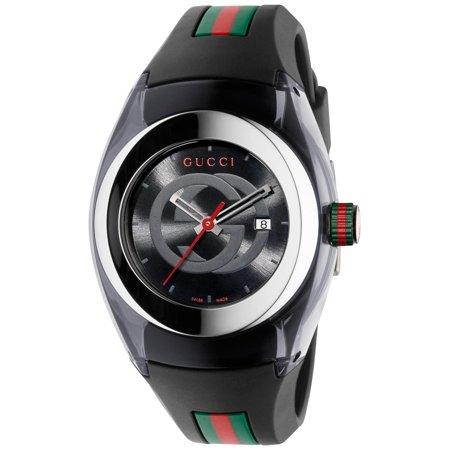 Gucci Unisex Black Swiss Sync Striped Rubber Strap Watch - Gucci Women Watches
