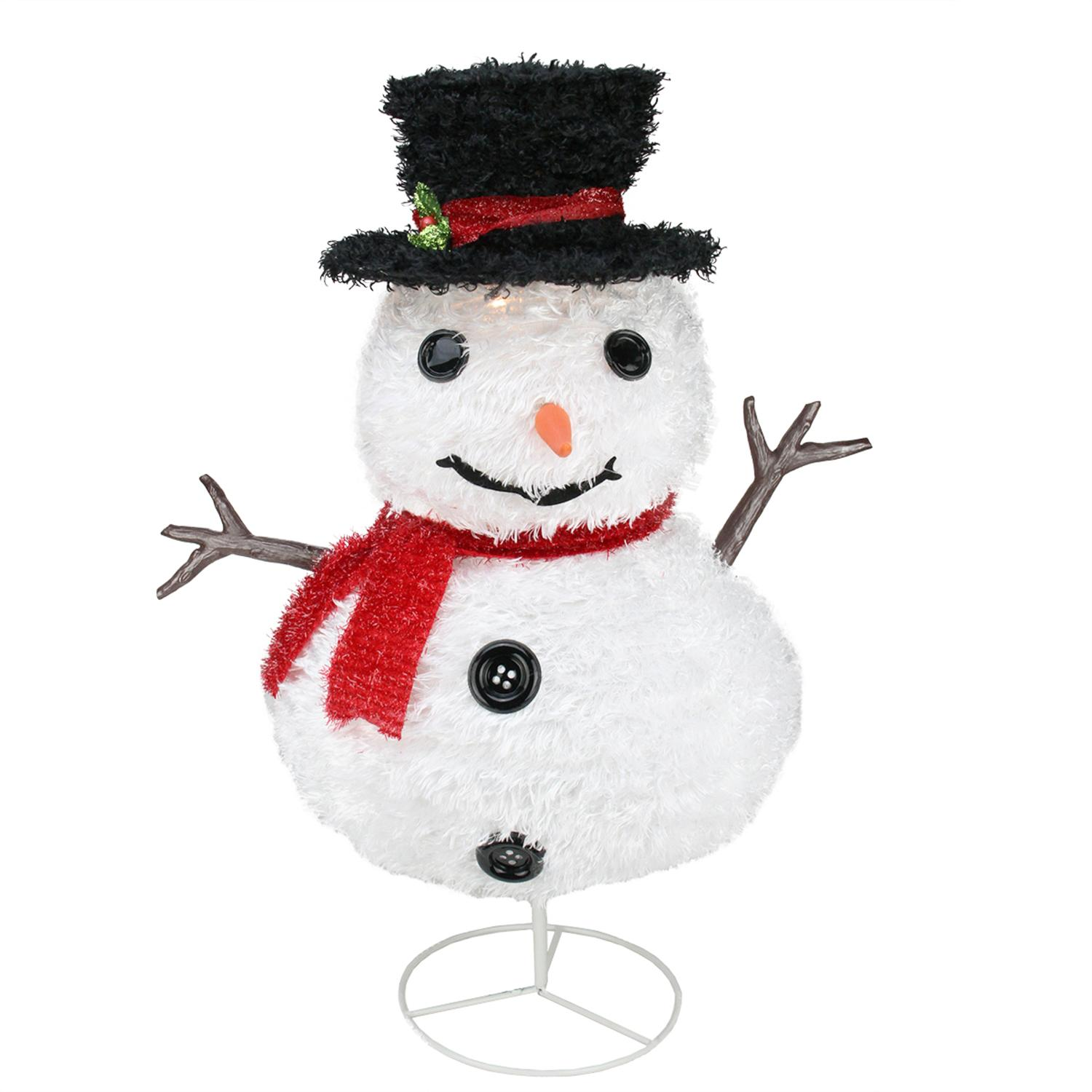 "30"" Pre-Lit Outdoor Chenille Snowman Kid w/ Top Hat Christmas Yard Art Decoration"